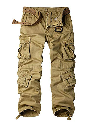 Women#039s Tactical Pants Cotton Casual Cargo Work Pants Military Army Combat Trousers 8 PocketsKhaki30US 10