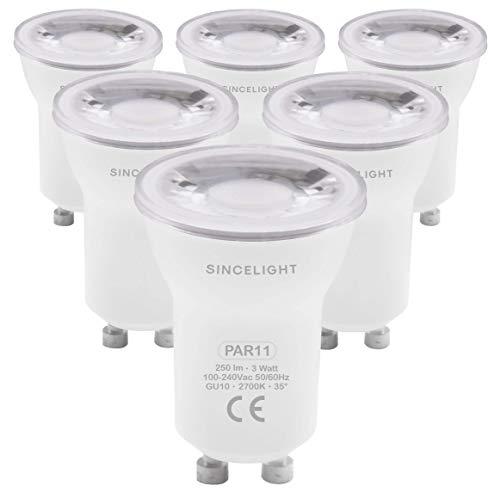 Bombilla reflectora LED GU10 PAR11, con casquillo GU10, no regulable, 250 lúmenes, equivalente a bombillas halógenas de 50 W, ángulo de emisión de 35°, luz blanca cálida, 2700 K, 6 unidades