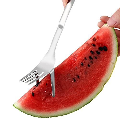 Cortador de garfo de melancia 2 em 1 – Cortador de melancia de aço inoxidável, cortador de faca, ferramenta de fatiar, artefato de corte de melancia de verão para utensílios de cozinha
