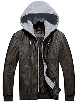 Wantdo Mens Big and Tall Faux Leather Jacket Slim Fit Jacket PU Outwear Coffee S by