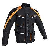 Chaqueta de motorista para hombre con protectores, impermeable, cortavientos, estilo motero, turismo, quad, deporte y tiempo libre. naranja XL