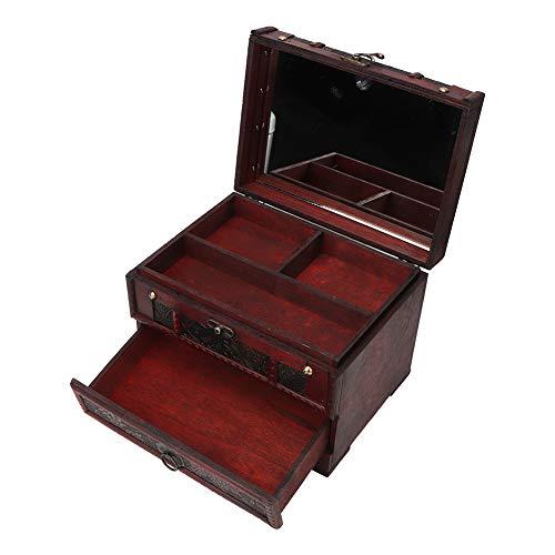 KUIDAMOS Joyero, Elegante Caja de Almacenamiento de baratijas de Madera Multifuncional Práctico con Espejo Pendientes de Almacenamiento Vintage Pulsera para Collar