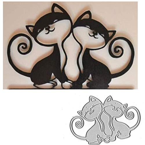 2PCS Animal Cat Metal Die Cuts,Love Wedding Spring Animal Cat Pet Flower Cutting Dies Cut Stencils for DIY Scrapbooking Album Decorative Embossing Paper Dies for Card Making