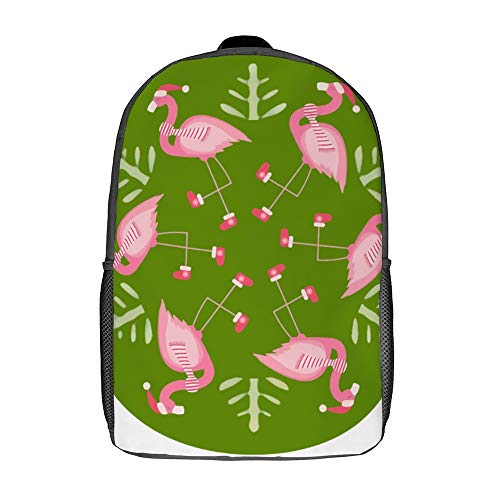 Cute Pink Flamingo New Year School Bag Durable Travel Daypack Computer Backpack for Women
