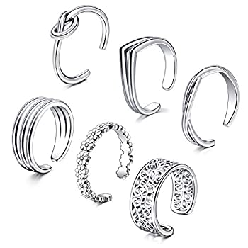 QWALIT Toe Rings for Women Open Adjustable Assorted Fingers Joint Knuckle Tail Pinky Ring Toe Ring Cuff Jewelry Silver