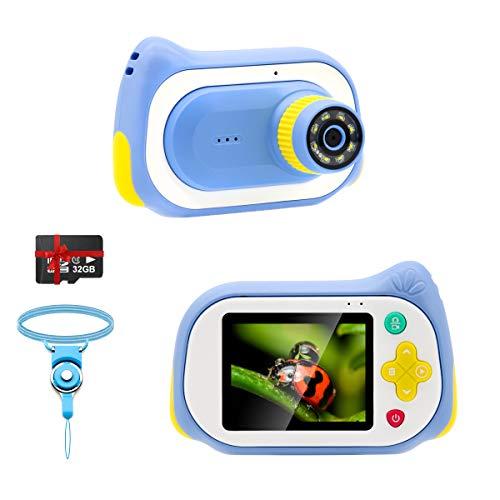 Veroyi Kinder Digital Kamera mit Mikroskopfunktion, 1080P 15MP Mini Spielzeug Kleinkind Videokamera mit 200X Lupe 32GB-Karte, Camcorder Geschenk für 3-10 Jahre Jungen Mädchen (Blau)