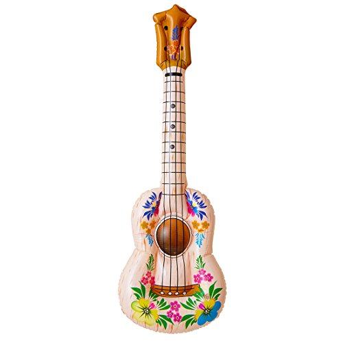 Amakando Hawaii Gitarre Ukulele Luftgitarre aufblasbar Hula Blumen Gummigitarre PVC Aloha Strand Aufblasgitarre Mottoparty Musikinstrument Sommer Party Spielzeuggitarre