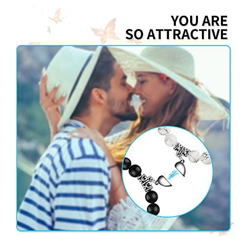 Magnetic Bracelet for Couples Adjustable Magnetic Field Therapy 7``to 11`` Bracelet Women Howlite Matt Stone Bracelets for Girlfriend Gift Bracelet
