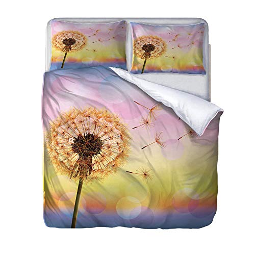 zzqxx Home Superking Duvet Cover Set Dandelion Bed Set Quilt Cover with Zipper Soft 100% Polyester Includes 2 Pillow Cases 3D Printed Bedding for Boys Girls Adults 260x220cm
