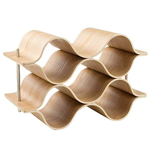 XHUENG Useful 6 Bottle Wooden Wave Wine Rack Freestanding For Table, Bar Or Counter Modern Minimalist Design Sweet And Dry Wines For Small Hom (Color : Wood color)