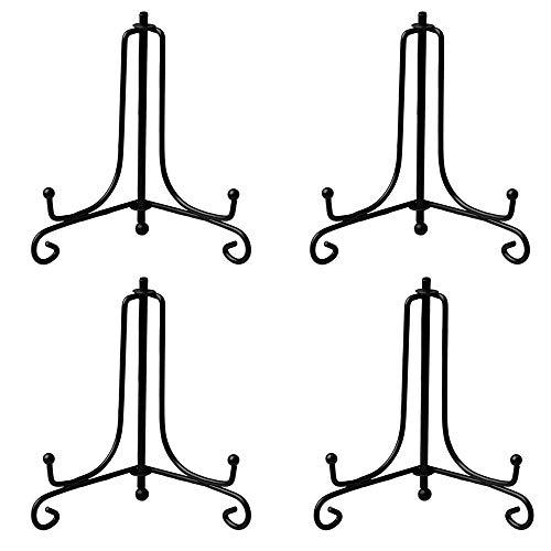 4 Stück Schwarz Metall Tellerständer, Eisen Tellerständer,Schwarz Display Ständer, zur Anzeige von Tellern, Sammlerstücken, Fotorahmen, Handgefertigten Produkten, 20 cm (Schwarz)