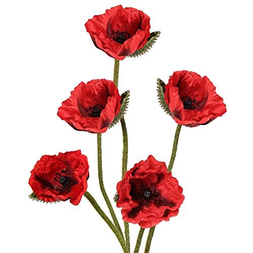 Kesio Künstliche Mohnblumen mit langem Stiel, für Zuhause, Küche, Zimmer, Esstisch, Dekoration, Rot, 10 Stück