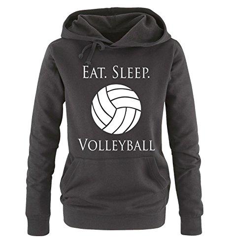 Comedy Shirts - EAT. Sleep. Volleyball - Damen Hoodie - Schwarz/Weiss Gr. S