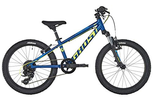 Ghost Kato 2.0 AL U 20R Kinder Mountain Bike 2019 (20 Zoll, Night Blue/Neon Yellow/Riot Blue)