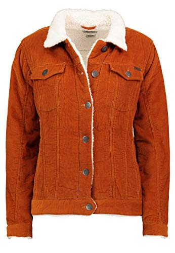 Eight2Nine Warme Damen Cord-Jacke mit Kunstfell gefüttert orange S