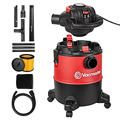 Vacmaster VBVB611PF 1101 6 Gallon 5 Peak HP Wet Dry Shop Vacuum 1-1/4 Inch Hose Powerful Suction with Detachable Blower