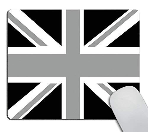 ZOMOY Stoff Mousepad,Nationalflagge des Vereinigten Königreichs UK Aka Union Jack in Schwarzweiß,Rutschfest eeignet für Büro und Gaming Maus