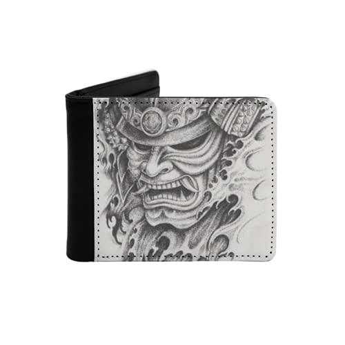 Men's Leather Slim Wallet,Samurai Warrior Tattoo Design Hand Pencil Drawing...