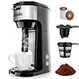 Single Serve Coffee Maker for Coffee Pod & Ground Coffee, Small Size Coffee Machine,Fast brewing,Strength Control and Self Cleaning Function by KitchenBro (Black)