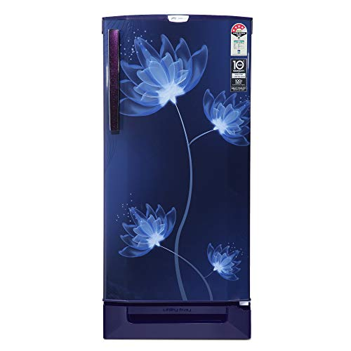 Godrej 190 L 4 Star Inverter Direct-Cool Single Door Refrigerator (RD 1904 PTDI 43 DI GLASS BLUE, Glass Blue, Base stand with Drawer)
