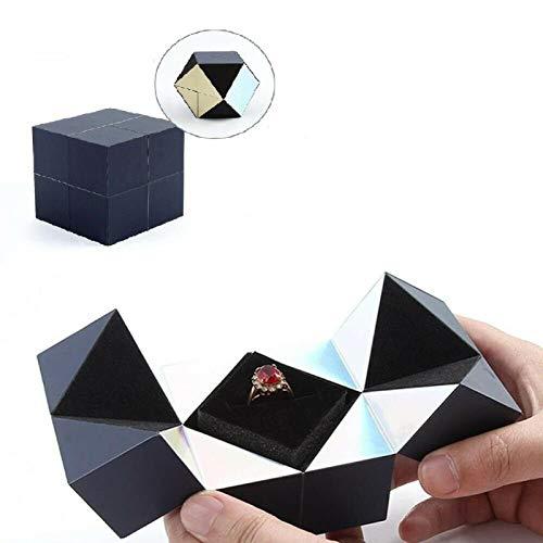 AINSS Caja de Anillo giratoria Creative Rubik'S Cube, Pulsera y joyero de Rompecabezas, Caja giratoria de Cubo de Rubik, Caja de Almacenamiento de Joyas