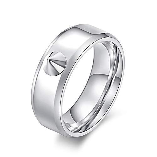 Ringe Herren Niet Kaputtes Fenster Körperring Anti-Wolf-Ring Einfach Metall Dorn Finger,Weiß,11