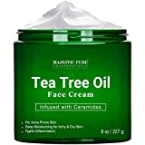 Tea Tree Oil Face Cream by Majestic Pure - Therapeutic Grade, Infused with Ceramides, for Acne Prone Skin Care - Fights breakouts and Fungus - Moisturizing, 8 oz