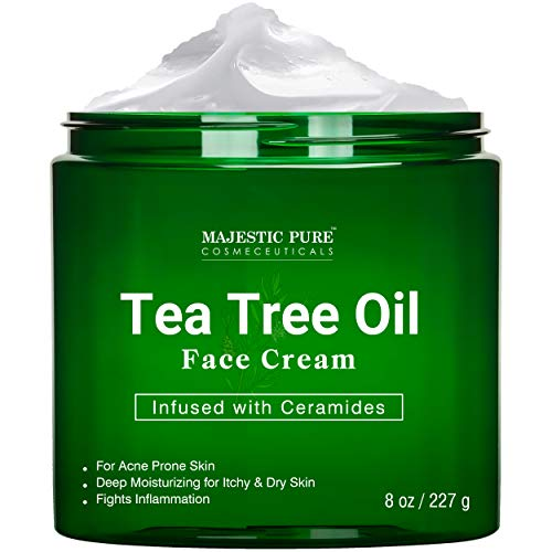 Tea Tree Oil Face Cream by Majestic Pure - Therapeutic Grade, Acne Scar Remover and Pimple Cream, Infused with Ceramides, Fights Acne and Soothes Acne Scars, Face Moisturizer, 8 oz