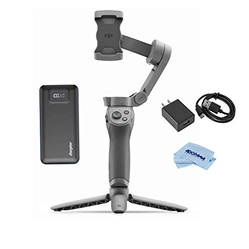DJI Osmo Mobile 3 Combo - Power Bundle with VC-1 USB-C Cable and Adapter, Energizer 20000mAh LCD Display Portable Power Bank Black, Microfiber Cloth
