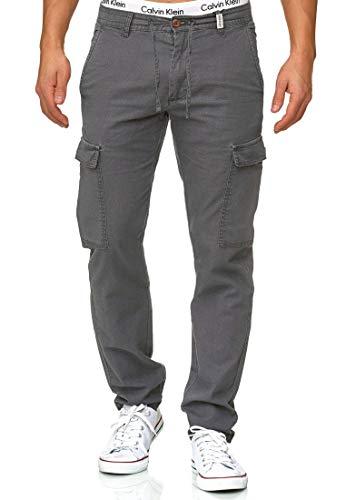 Indicode Herren Leonardo Cargohose aus 55% Leinen & 45% Baumwolle m. 6 Taschen | Lange Regular Fit Cargo Hose Baumwollhose Leinenhose Freizeithose Bequeme Stoffhose f. Männer Iron L
