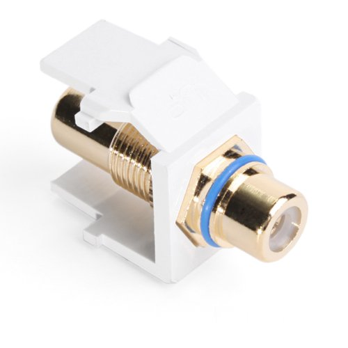 Leviton 40830-BWL QuickPort RCA, Gold-Plated Connector with Blue Stripe, White