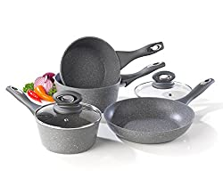 Complete your cookware with this Salter Marble Collection 4 Piece Pan Set including 16, 18 and 20 cm saucepans and a 24 cm frying pan. Made from forged aluminium with marble effect non-stick coated interiors, the pans are non-stick so you can cook wi...
