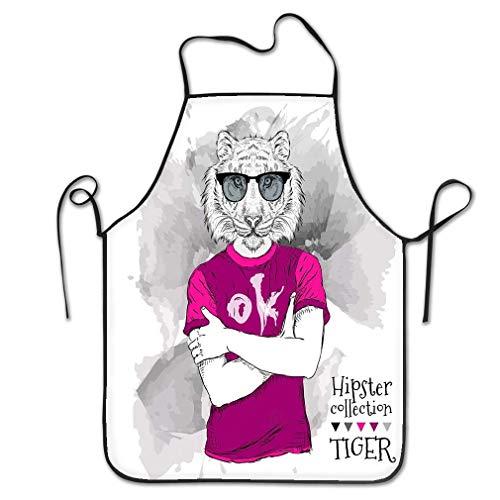 N\A Lustige Persönlichkeit Schürze Illustration Tiger Hipster Dressed Up Brille Chef Küchenschürzen
