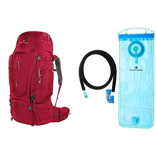 Ferrino Transalp 60, Zaino Da Hiking Unisex, Rosso, 60 L & H2 Bag, Borsa Di Idratazione Unisex, Blu, 2 Litri