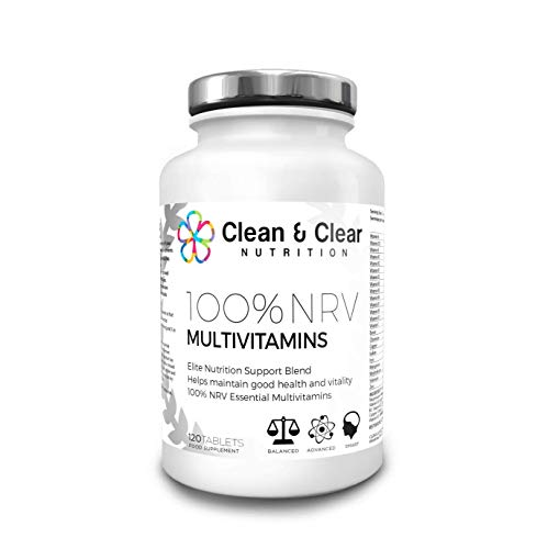 Clean and Clear Nutrition 100% NRV Multivitamin Tablets Healthy Vitamins and Minerals for Stronger Bones and Immune System 120 Tablets
