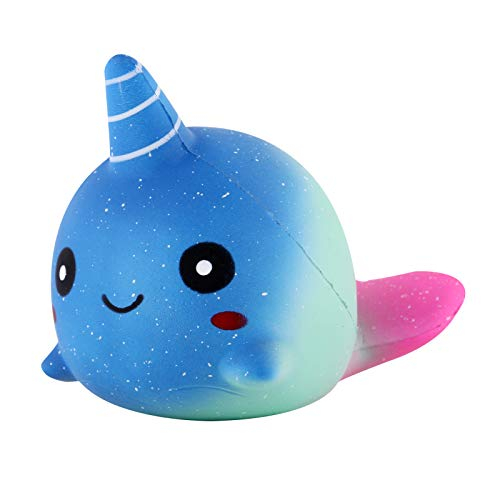 Anboor 4.7 Inches Squishies Baby Whale Narwhal Slow Rising Kawaii Scented Soft Animal Squishies Toys