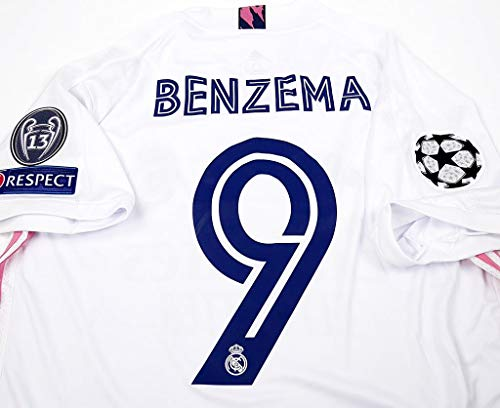 ADI Karim Benzema#9 Jersey Fussball-Trikot Champion League Patch 2019-2020 Full Patch White Color (L)