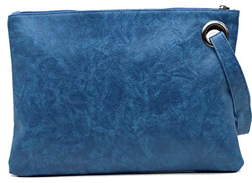 Amaze Damen-Clutch, übergroß, aus PU-Leder, mit Handgelenk, Schultertasche, für Abendveranstaltungen, Blau (blau), Large