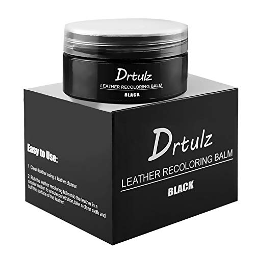 Leather Recoloring Balm, Leather Conditioner Color Restorer Leather Repair Kits for Furniture Vinyl Sofa, Purse, Shoes, Car Seats, Repair Leather Color on Faded & Scratched Leather Couches (Black)