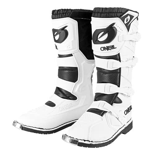 O'NEAL | Motocross-Stiefel | Enduro Motorrad | Komfort durch Air-Mesh-Innenleben, verstellbare Verschlussschnallen, hochwertiges Synthetik-Material | Boots Rider Pro | Erwachsene | Weiß | Größe 43