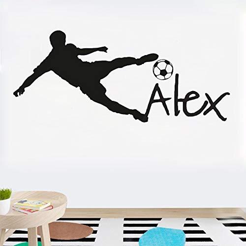 YSQARS Nombre Personalizado Balón de fútbol de fútbol Vinilo Tatuajes de Pared Poster Art niños Etiqueta de la Pared decoración de la habitación de los niños Home Decoration42X95Cm