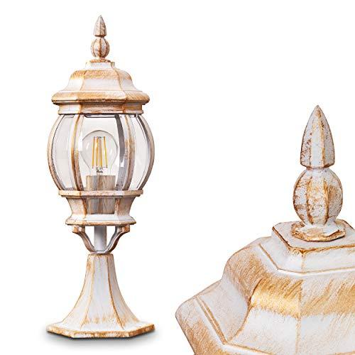 Buitenverlichting Lentua, basisverlichting in antieke look, gegoten aluminium in wit/goud met kunststof schijven, padverlichting 50 cm, retro/vintage tuinlamp, E27 stopcontact, max. 60 Watt IP44