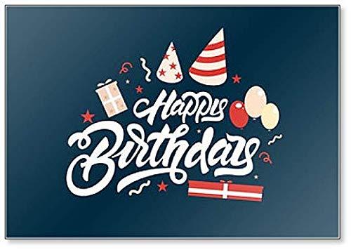 Happy Birthday. Kühlschrankmagnet mit Luftballons und Geschenken