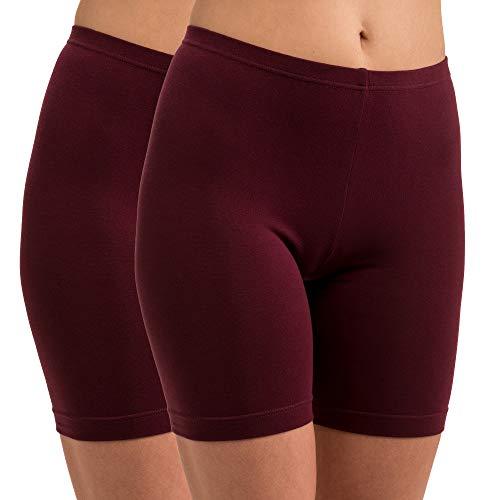 HERMKO 5780 2er Pack Damen Longpant - knielanger Pant, Farbe:Bordeaux, Größe:40/42 (M)