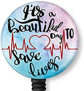 Beautiful Day to Save Lives Retractable ID Card Badge Holder with Alligator Clip Nurse Badge ID Card Name Tag Badge Reel Clip on Card Holders Badge Clip