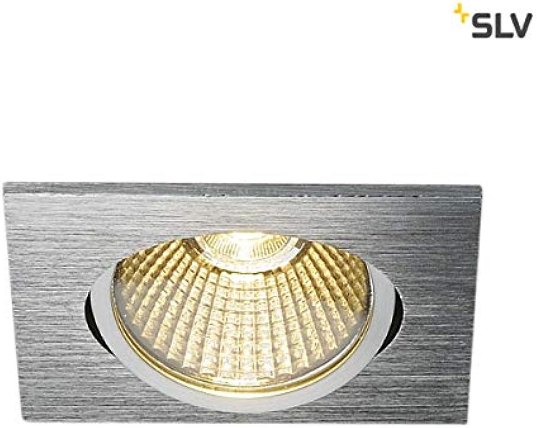SLV New TRIA eckig, LED Indoor Deckeneinbauleuchte, alu gebürstet, 1800-3000K 7,2W Leuchte, Aluminium, 7.3 W, Silber
