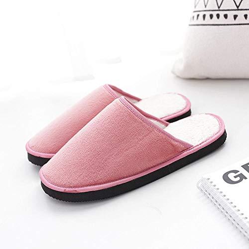 B/H Zapatillas De Casa para Hombre Y Mujer,Zapatillas de algodón, Plataforma de Mujer, Bonitas en Invierno, Antideslizante-Carne_40 / 41