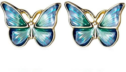OUHUI Blue Green Enamel Golden Vivid Butterfly Earrings Fashion Ladies Jewelry Handmade Jewellery for Women Exquisite
