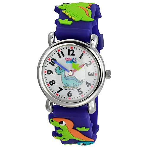 Tee-Wee Kinder Quarz Uhr Dinosaurier 27mm Kautschuk Armband blau UW331B Analoguhr