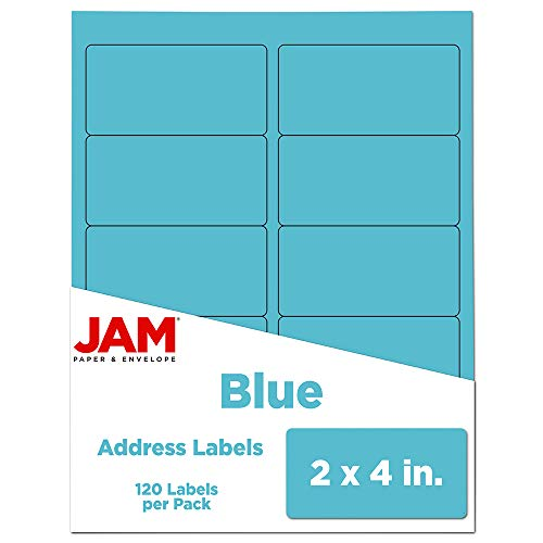 JAM PAPER Shipping Address Labels - Standard Mailing - 2 x 4 - Blue - 120/Pack